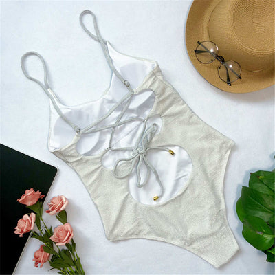 White Glitter Lace Up One Piece Swimsuit