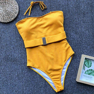 Mustard Yellow Ribbed One Piece With Waistband Detail
