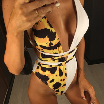 50/50 Leopard Print Wrap Around Swimsuit