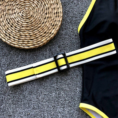 Varsity Inspired Belted SwimSuit with Neon Detailing
