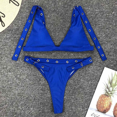 Royal Blue High Leg Buckle Bikini