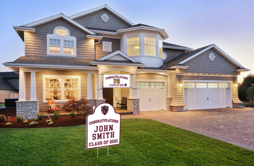 Example of a home with the Custom Banner and Shape Cut Yard Sign