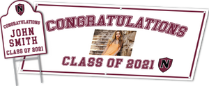 Graduation Package includes Custom Banner and Shape Cut Yard Sign