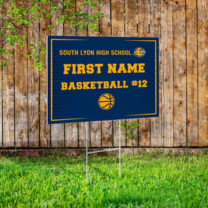 Fundraising Yard Sign Example - Custom School, Logo, Name, Number, and Sport