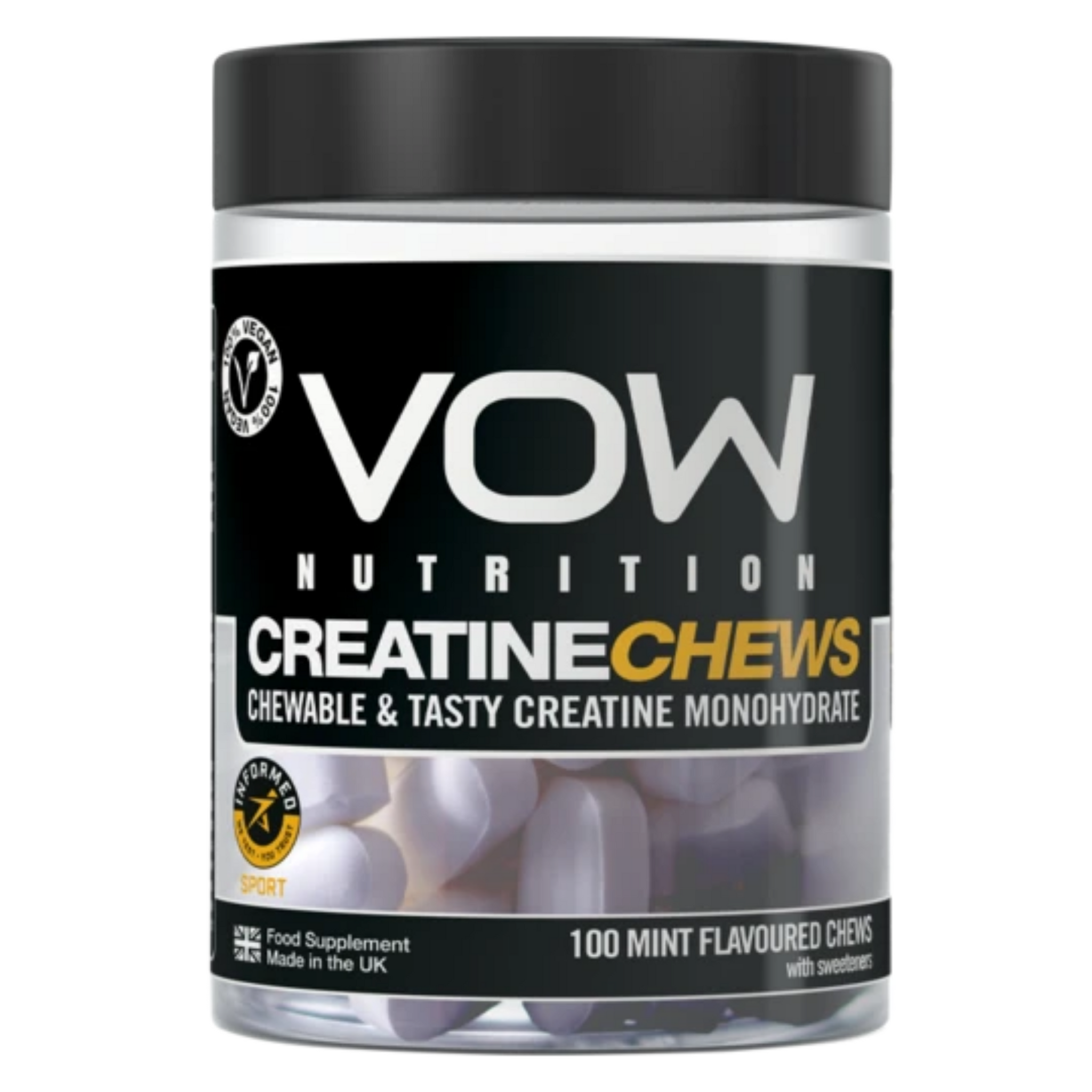 VOW Creatine Chews Mint Flavour Supplements Sports Simon Evans Physiotherapy