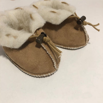Alwero - wool/velour booties - baby - light brown