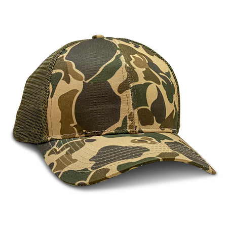 old school camo blank trucker hat