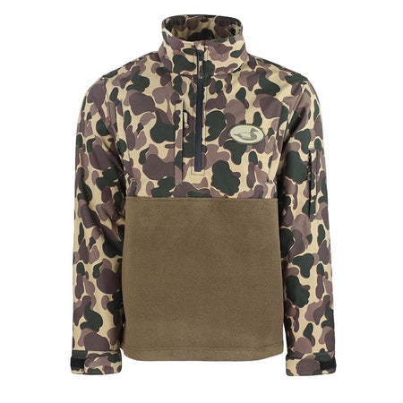 old school duck hunting camo waterproof 1/4 zip pullover