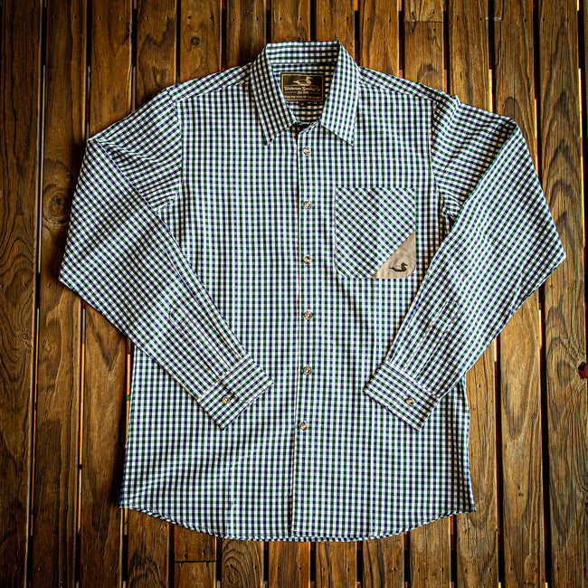 Blue and green tattersall sport hunting shirt.