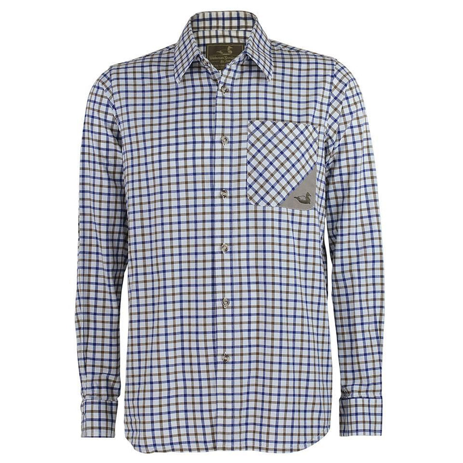 blue and tan tattersall collared shirt with embroidered canvasback logo for field country wear