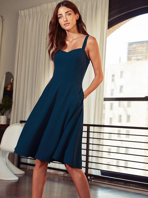 Alina Sweetheart Neck Fit and Flare Midi Dress