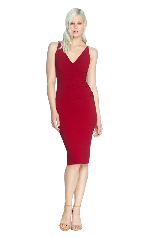 Anita Asymmetrical Rouched Waist V-Neck Midi Dress