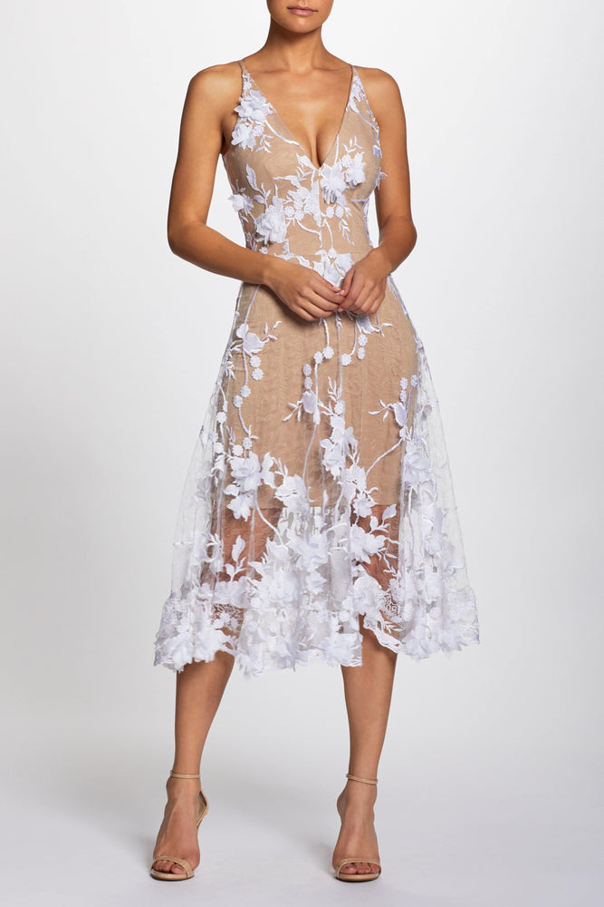 Audrey 3D Lace Fit and Flare Midi Dress (Off White)