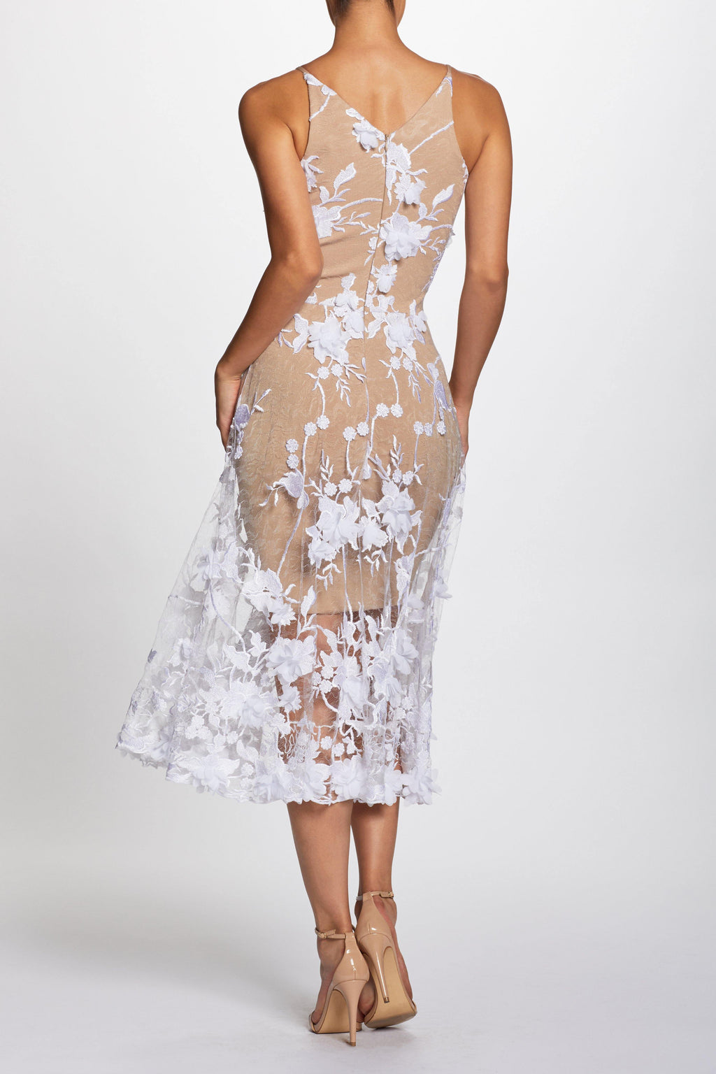 Audrey 3D Lace Fit and Flare Midi Dress (Off White) - 3