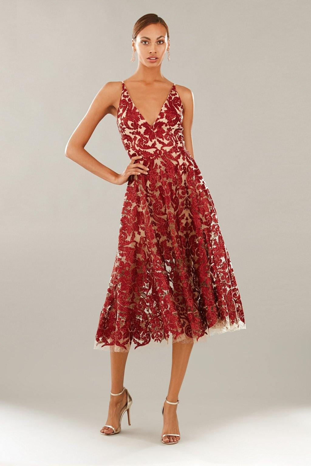 Blair Sequin Lace Fit and Flare Midi Dress (Berry)