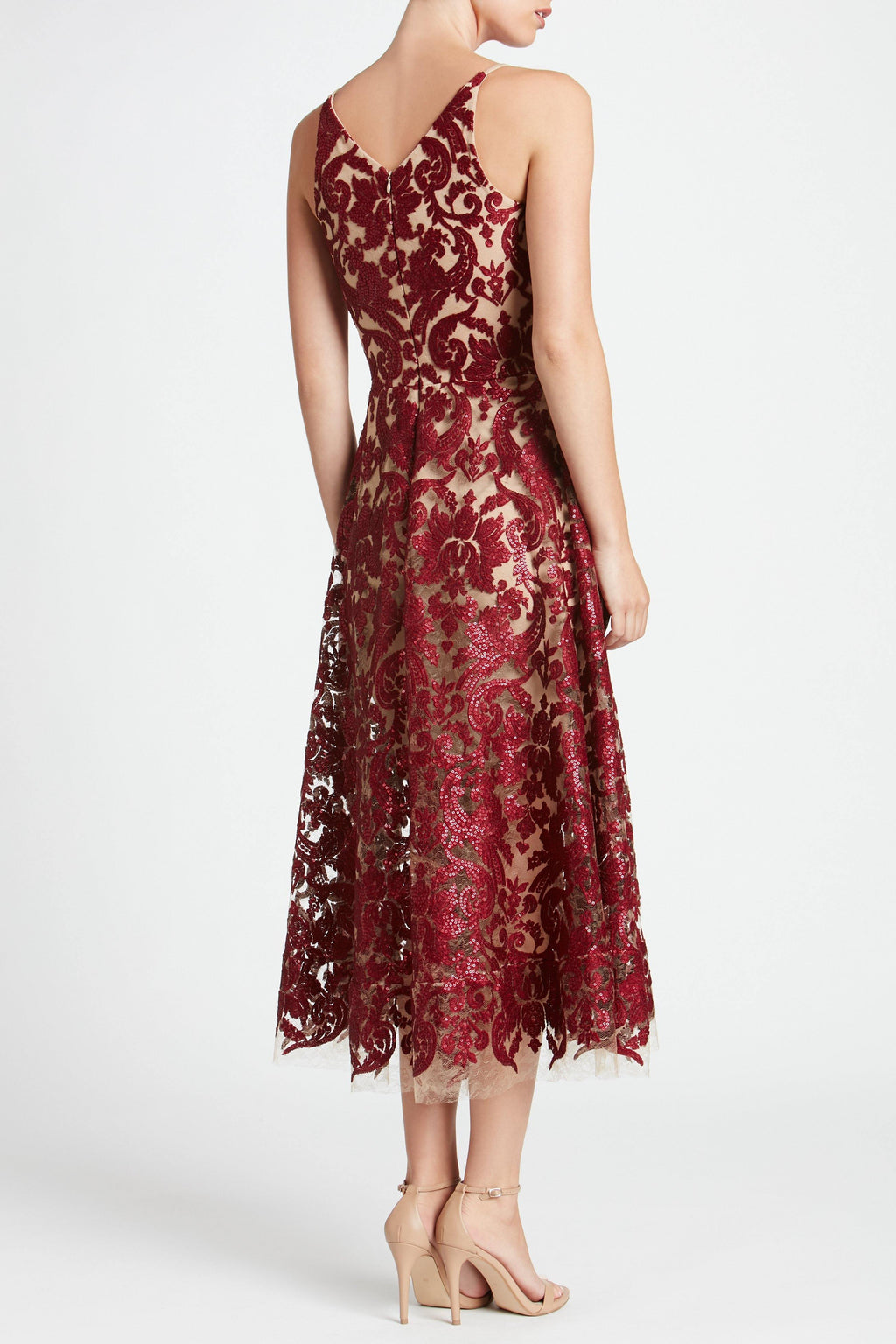Blair Sequin Lace Fit and Flare Midi Dress (Berry) - 2