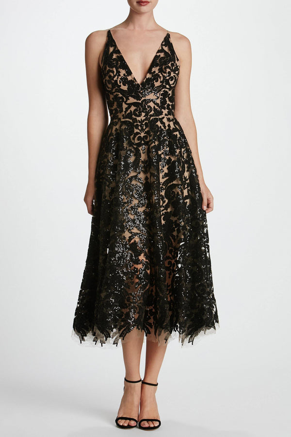 Blair Sequin Lace Fit and Flare Midi Dress