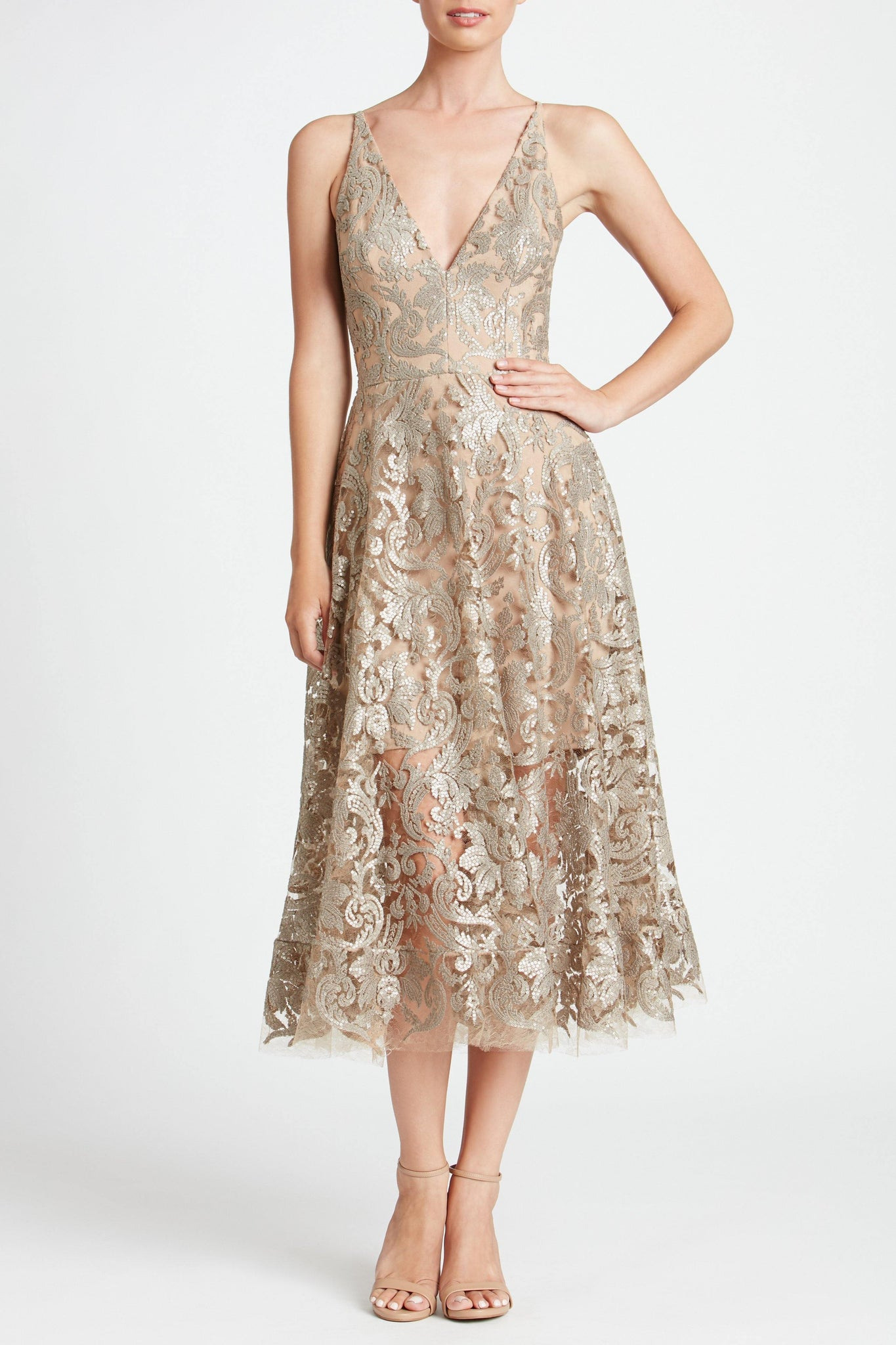 Blair Sequin Lace Fit and Flare Midi Dress (Platinum)