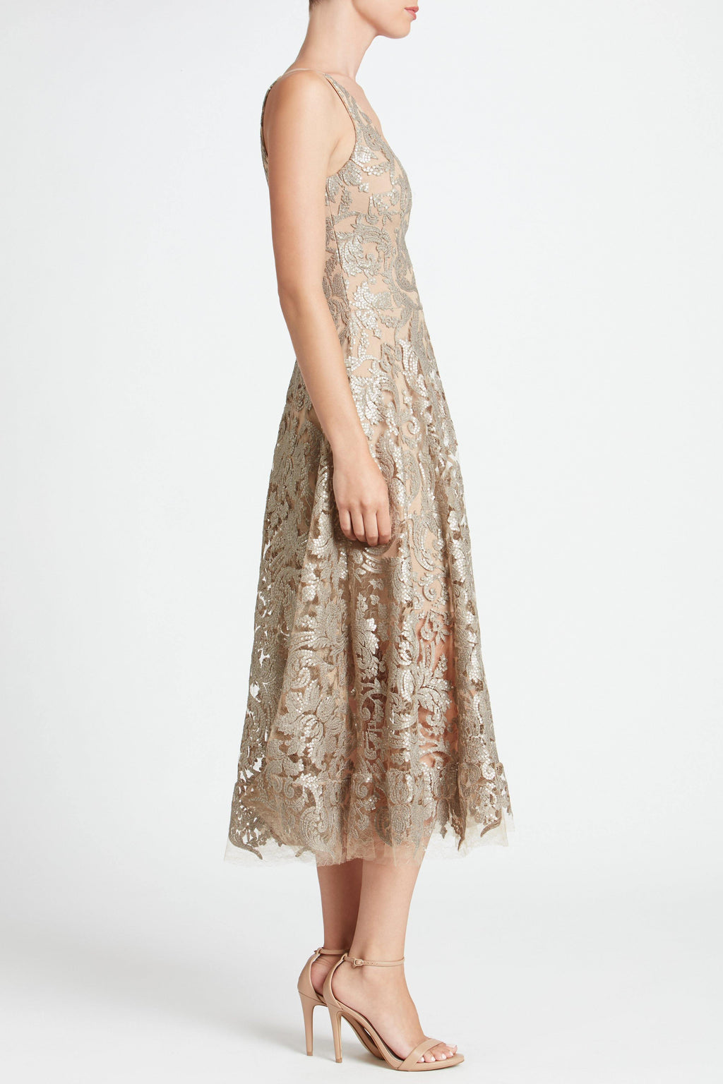 Blair Sequin Lace Fit and Flare Midi Dress (Platinum) - 3