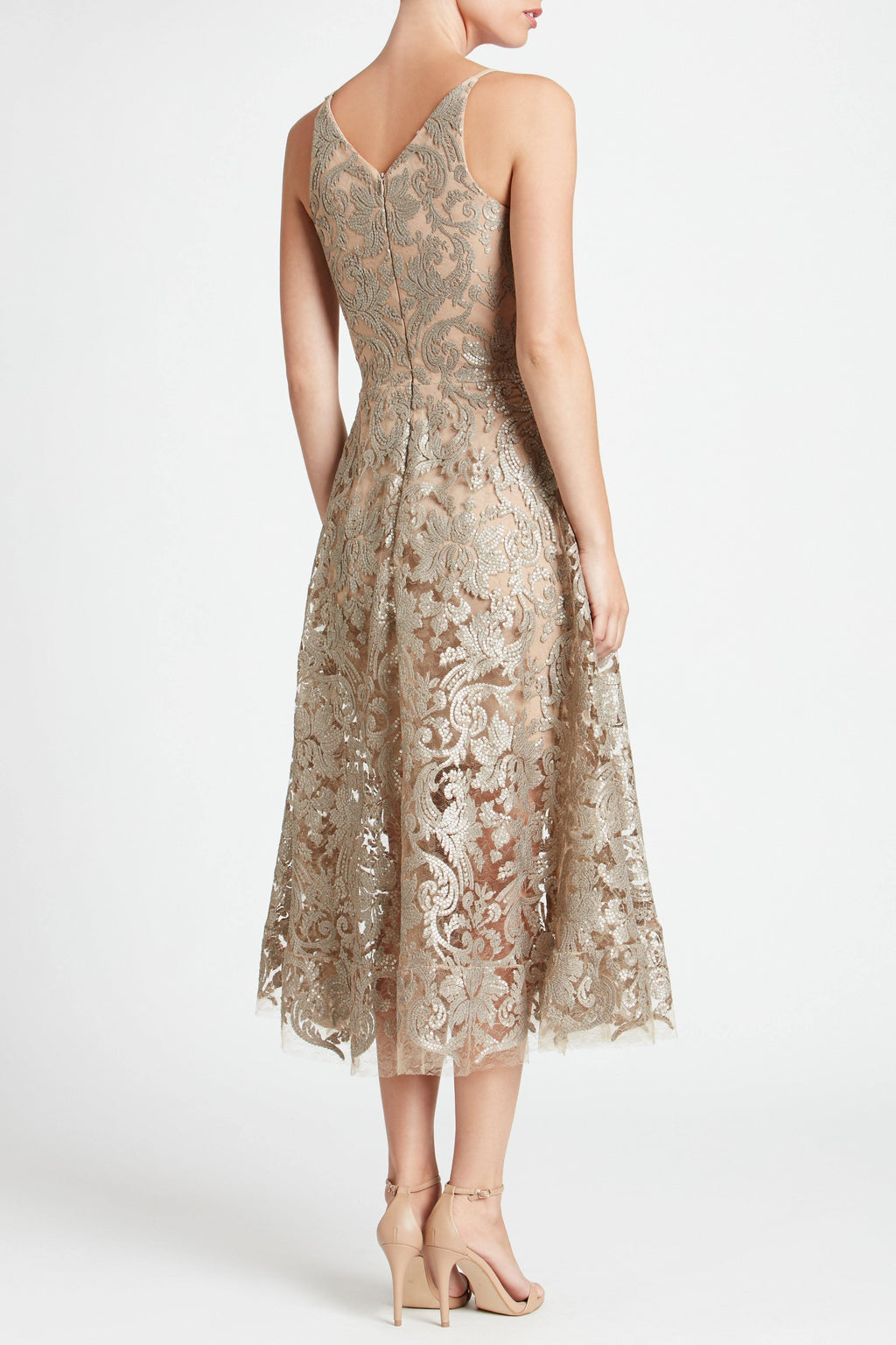 Blair Sequin Lace Fit and Flare Midi Dress (Platinum) - 4