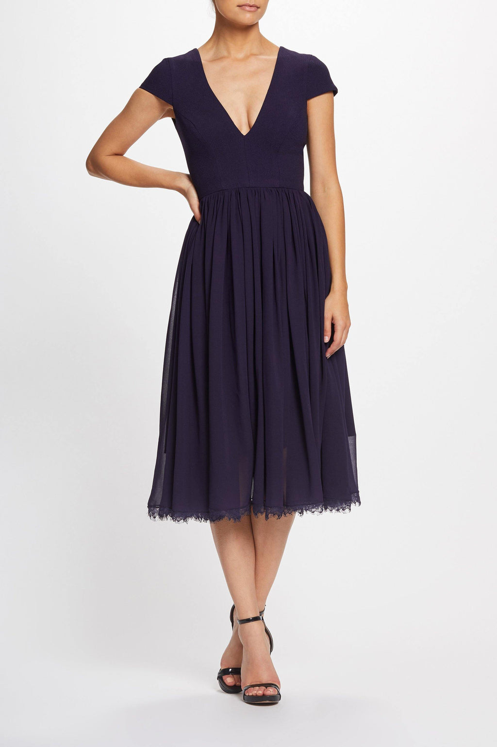 Corey Cap Sleeve Fit and Flare Midi