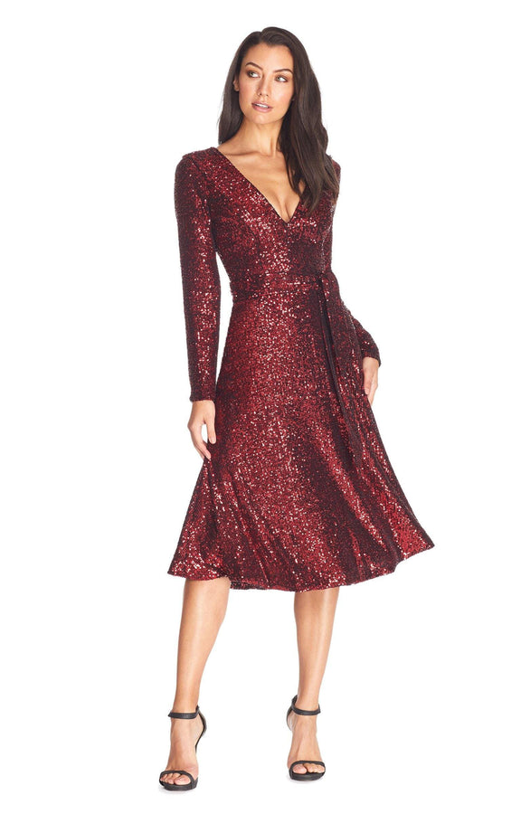 Daphne Long Sleeve V-Neck Fit And Flare Midi Dress