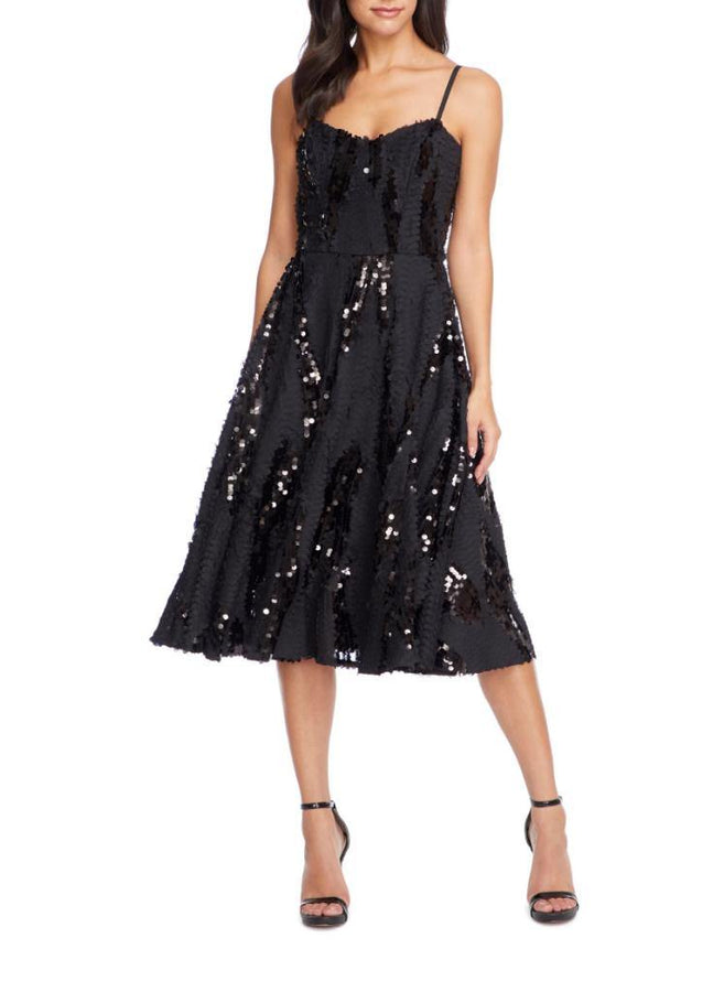 Flora Sequin Fit & Flare Dress