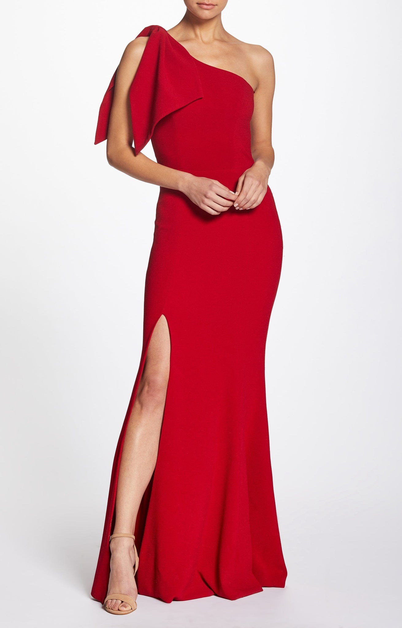 Georgina One Shoulder Crepe Gown
