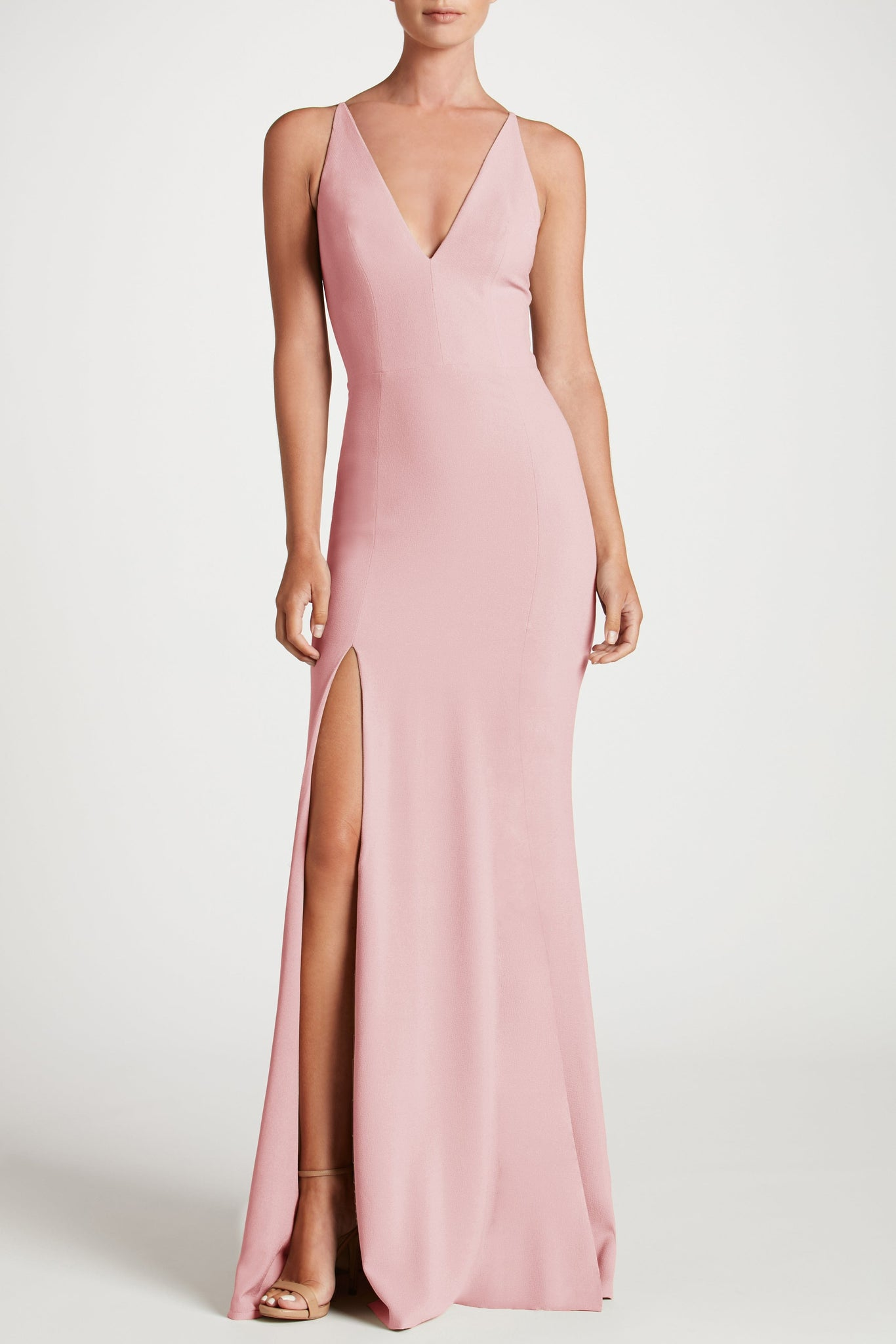 Iris Crepe Side Slit Gown (Blush)