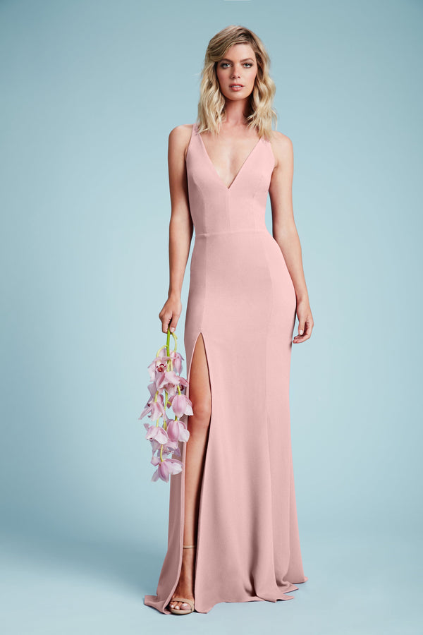 Iris Crepe Side Slit Gown (Blush) - 2