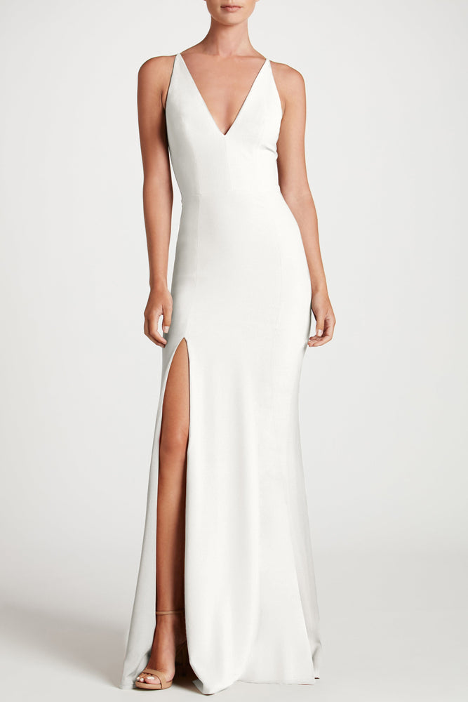 Iris Crepe Side Slit Gown (Off White)