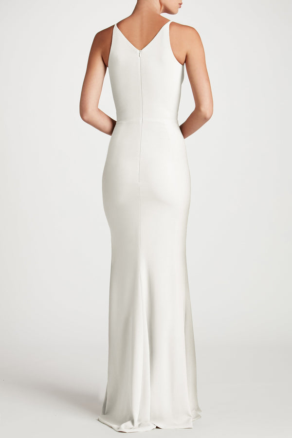 Iris Crepe Side Slit Gown (Off White) - 3