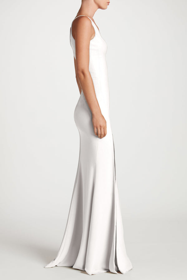 Iris Crepe Side Slit Gown (Off White) - 2
