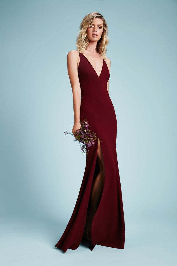 Iris Crepe Side Slit Gown (Burgundy) - 2