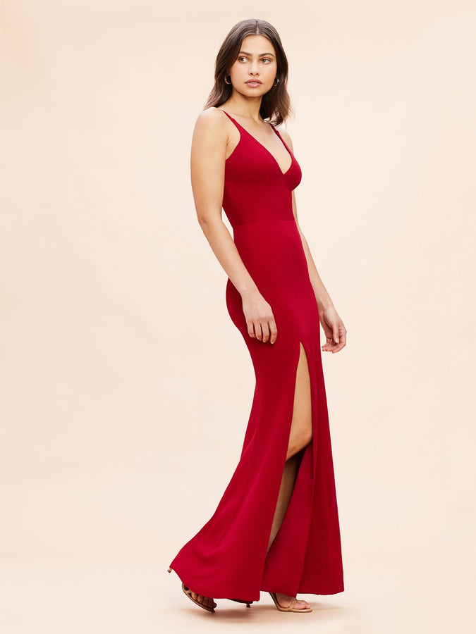 Iris Crepe Side Slit Gown (Garnet) - 4