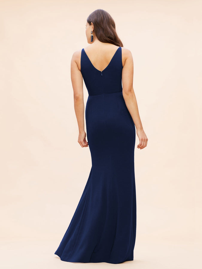 Iris Crepe Side Slit Gown (Midnight Blue) - 4