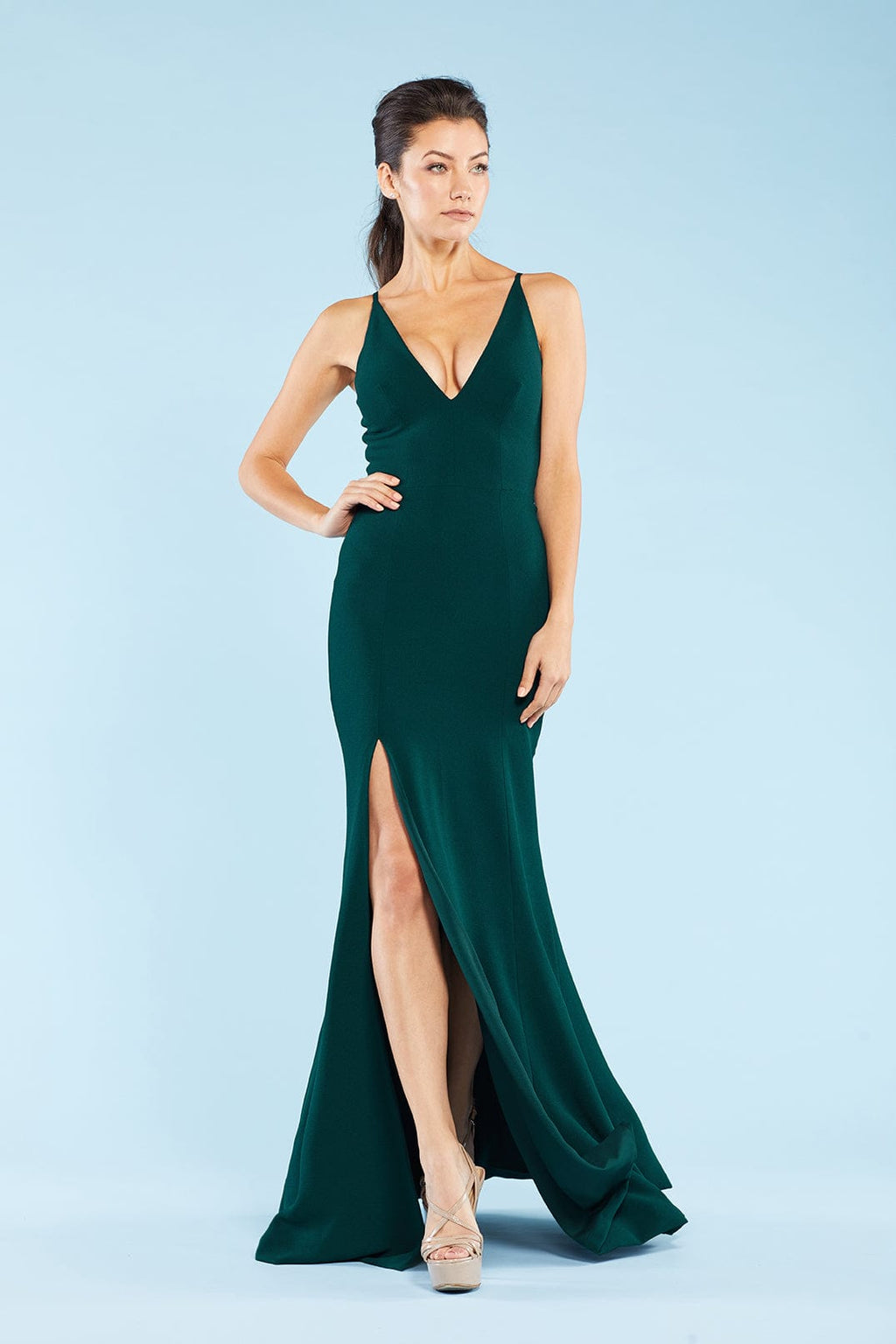 Iris Crepe Side Slit Gown (Pine) - 3