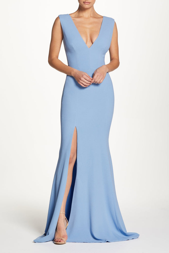 Sandra Plunging Sleeveless Crepe Mermaid Gown with Front Slit