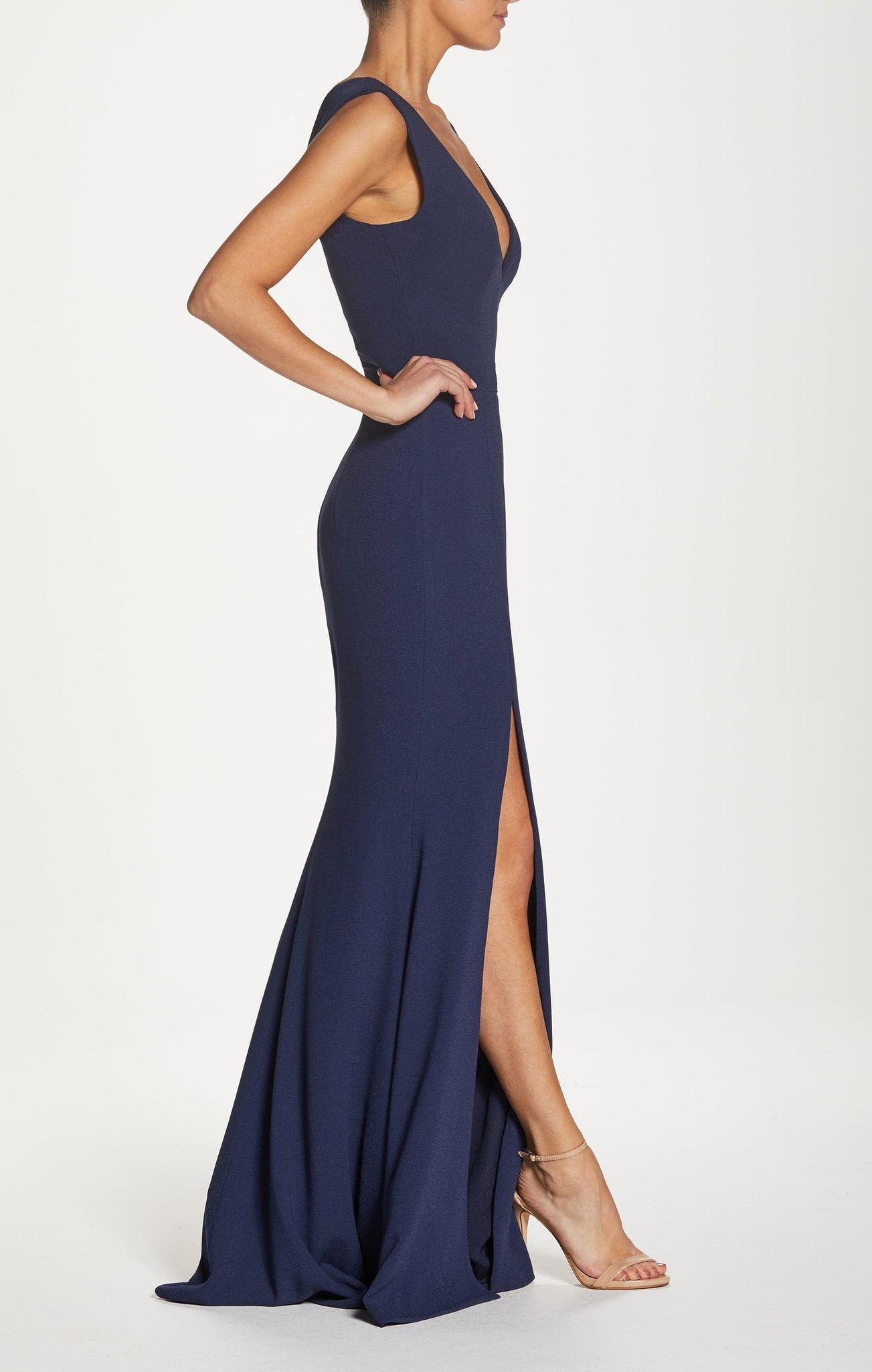 Sandra Plunging Sleeveless Crepe Gown with Front Slit