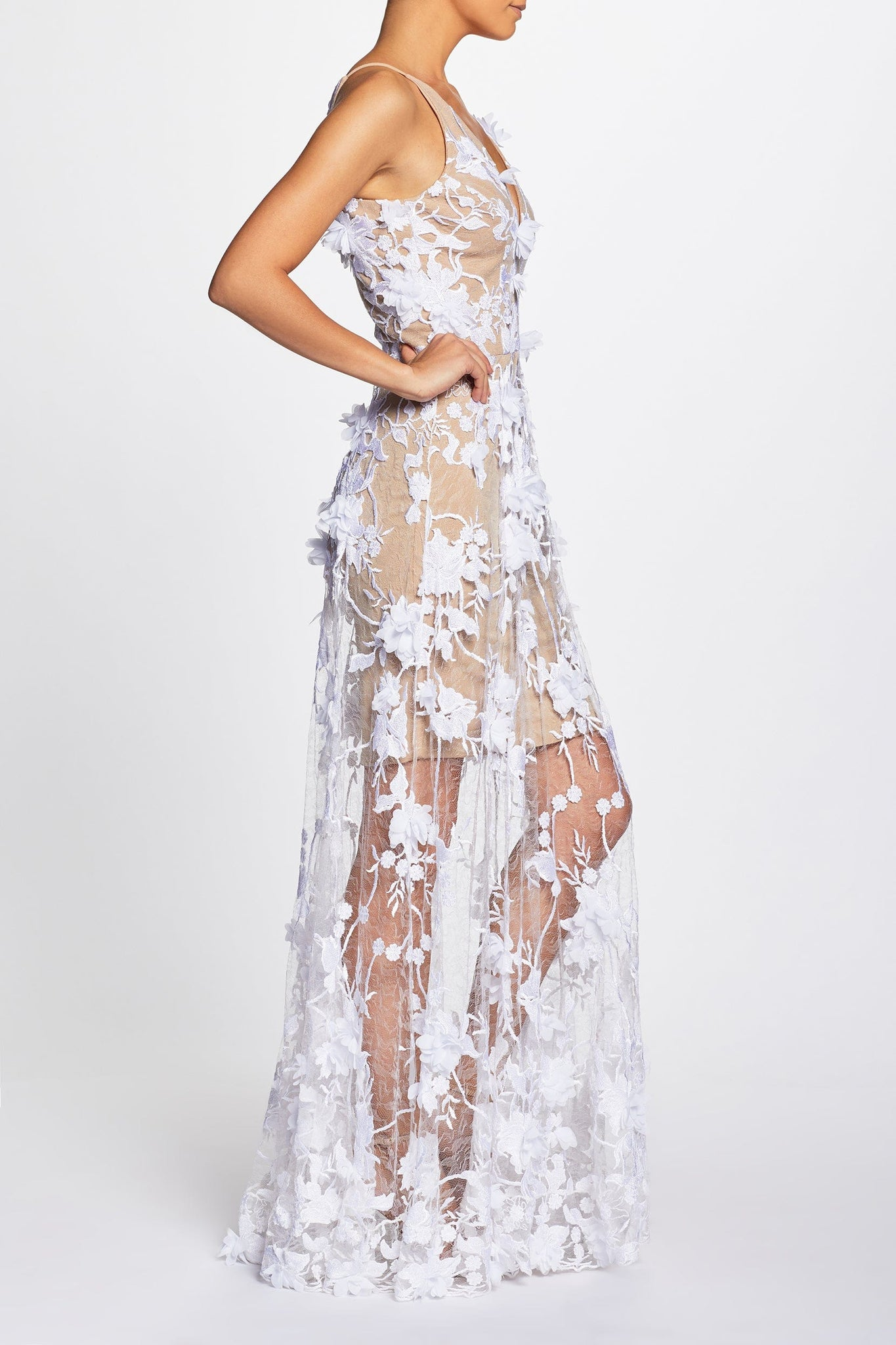 Sidney Plunging Spaghetti Strap A-line Gown