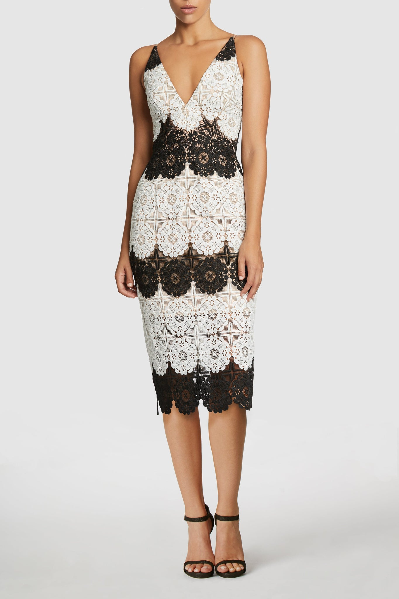Vera Crochet Strpe Midi Dress (White)