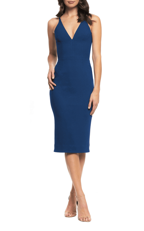 Lyla Plunging Crepe Midi Dress-FINAL SALE