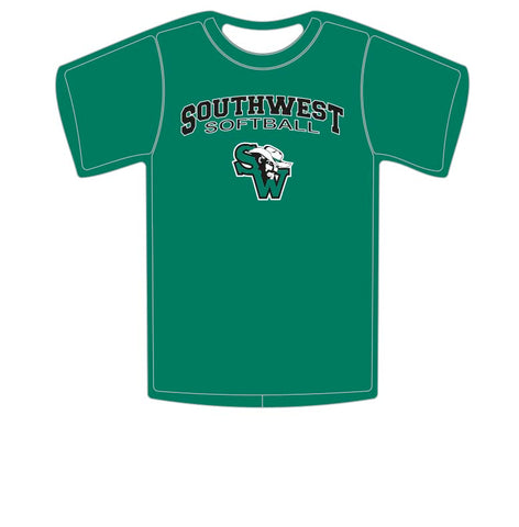 Short Sleeve and Long Sleeve T-Shirt - Southwest Softball Arch With Cowboy Logo