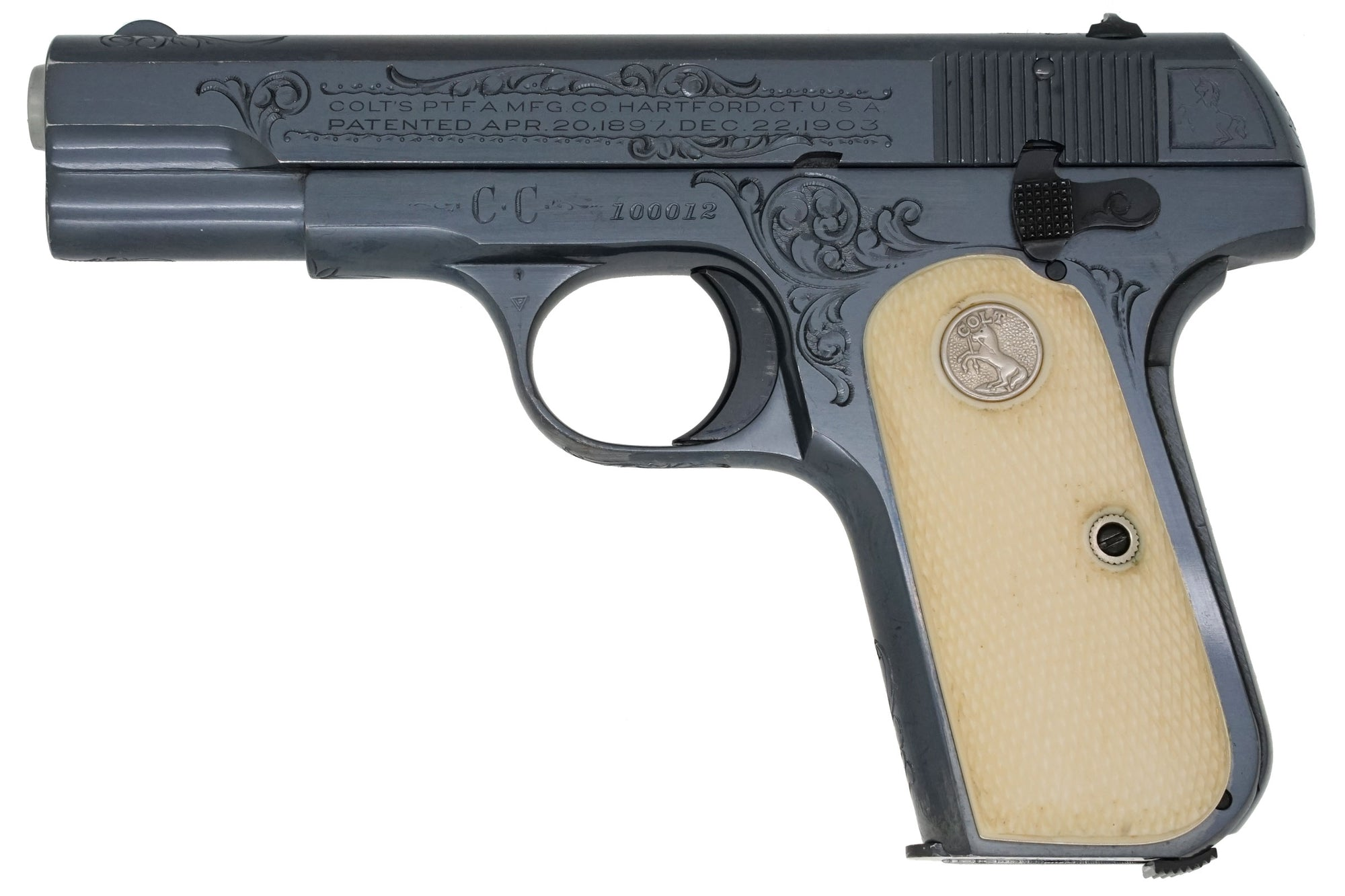 Colt 1908 Pocket Hammerless 380ACP SN:100012 MFG:1927 Factory Engraved