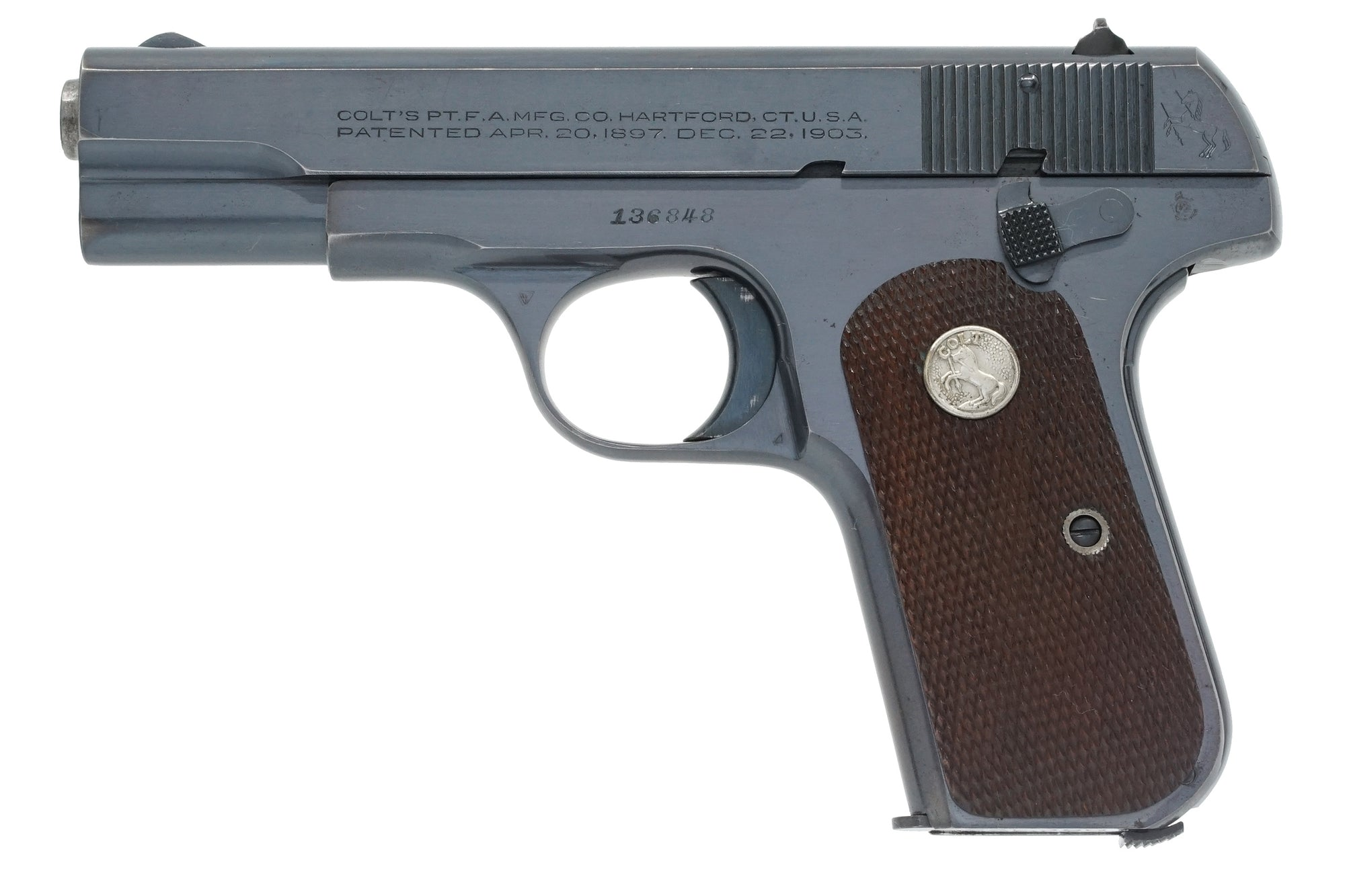 Colt 1908 Pocket Hammerless 380ACP SN:136848 MFG:1944 -General Wainwright