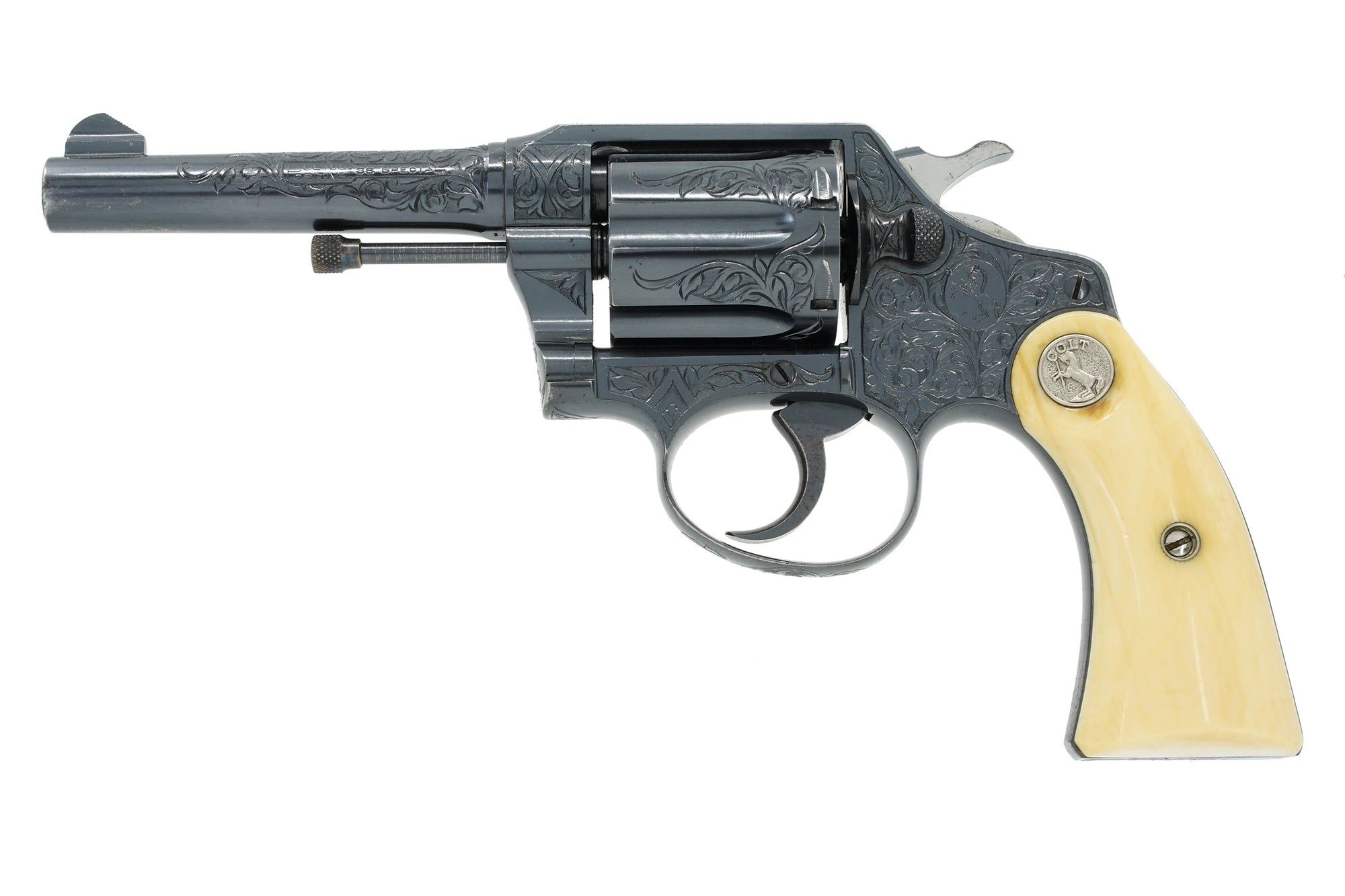 "Colt Police Positive 38 4"" SN:303182 MFG:1924 - Factory Engraved"