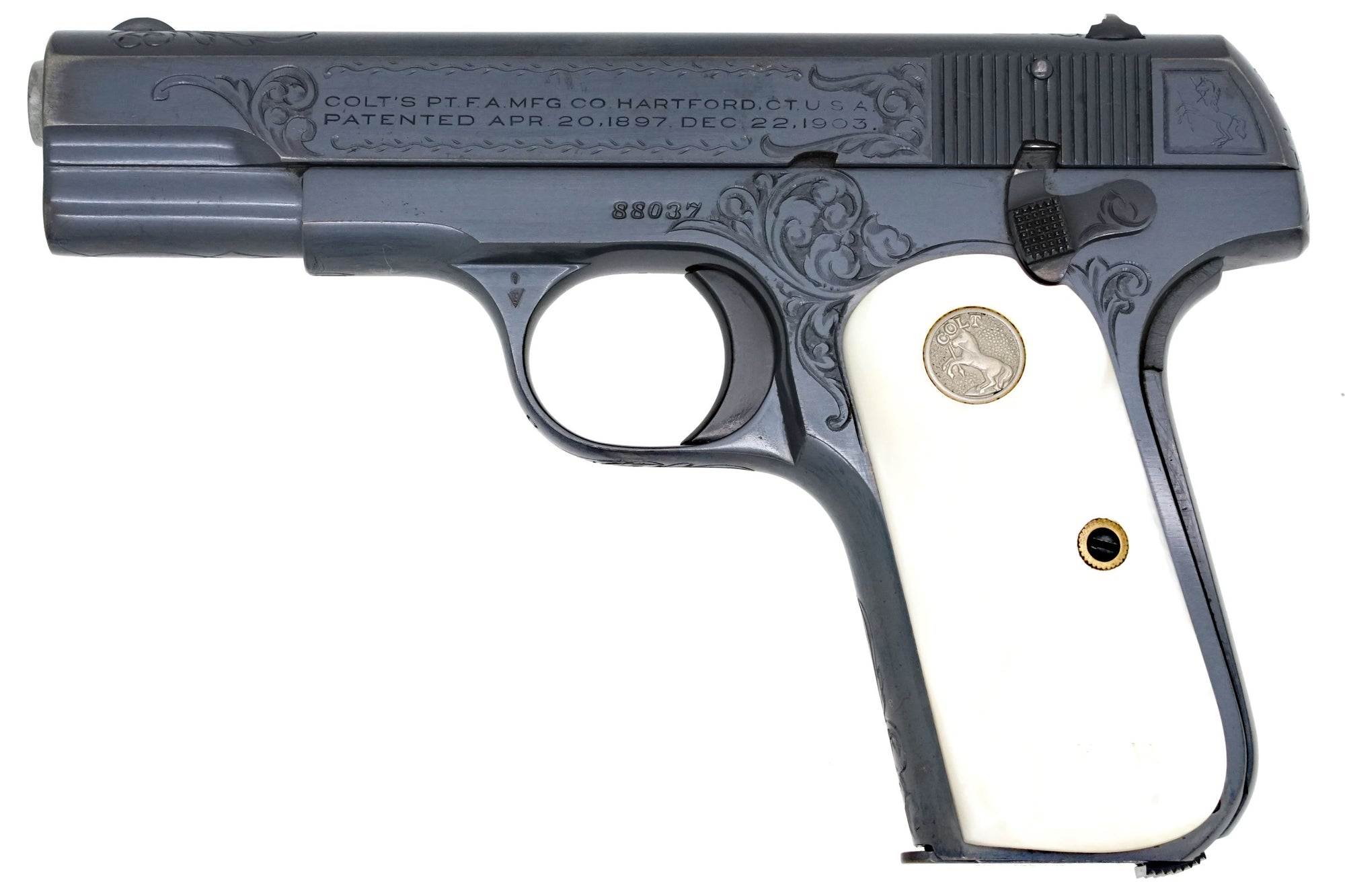 Colt 1908 Pocket Hammerless 380ACP SN:88037 MFG:1925 Factory Engraved
