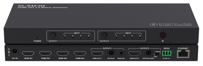 Digitalinx DL-S42-H2 4x2 HDMI 2.0 Matrix Switch W/ ARC