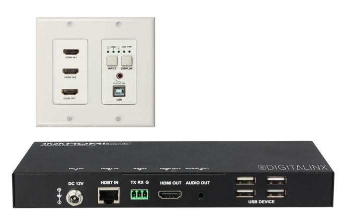 Digitalinx DL-HDBT3H-WP-KIT 3 HDMI w/Audio & USB Wall Plate Extension Kit