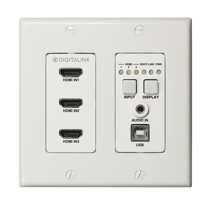 Digitalinx DL-3H1U-WP-W Three HDMI HDBaseT Wall Plate w/ USB